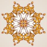 Bloemenpatroon in gouden schaduwen Royalty-vrije Stock Foto