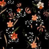 In Bloemenpatroon in het vele soort bloemen Tropische bot Stock Foto
