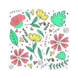 Bloemenpatroon, krabbelbloemen, vectorillustratie Royalty-vrije Stock Foto's