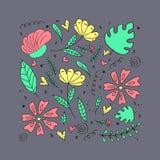 Bloemenpatroon, krabbelbloemen, vectorillustratie Royalty-vrije Stock Afbeeldingen