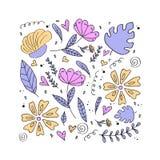 Bloemenpatroon, krabbelbloemen, vectorillustratie Stock Fotografie