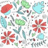 Bloemenpatroon, krabbelbloemen, vectorillustratie Royalty-vrije Stock Foto