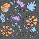 Bloemenpatroon, krabbelbloemen, vectorillustratie Royalty-vrije Stock Fotografie