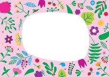 Bloemenpatroon met exemplaarruimte voor uw tekst Retro concept van de aardbloem Royalty-vrije Stock Fotografie