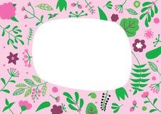 Bloemenpatroon met exemplaarruimte voor uw tekst Retro concept van de aardbloem Stock Afbeeldingen