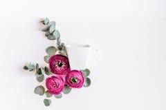Bloemenpatroon met heldere bloem op wit achtergrond hoogste meningsmodel Stock Fotografie