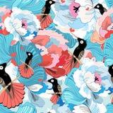 Bloemenpatroon met kolibrie Stock Afbeelding