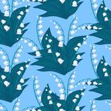 Bloemenpatroon met lelietje-van-dalenbloemen Stock Foto