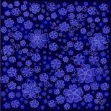 Bloemenpatroon met lichtblauwe gevoerde en gekleurde bloemen op blauwe achtergrond Royalty-vrije Stock Fotografie