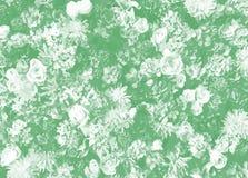Bloemenpatroon met verscheidenheid van bloemen op groen als achtergrond Stock Afbeeldingen