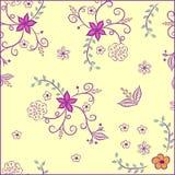 Bloemenpatroon op een gele achtergrond Royalty-vrije Stock Afbeeldingen