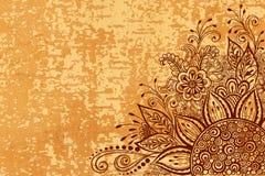 Bloemenpatroon op Houten Textuur Stock Fotografie