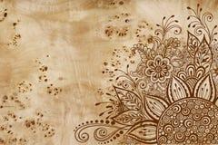 Bloemenpatroon op Houten Textuur Stock Afbeelding