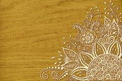 Bloemenpatroon op Houten Textuur Stock Foto