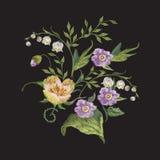 Bloemenpatroon van de borduurwerk het kleurrijke tendens met lelies van vall Stock Fotografie