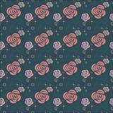 Bloemenpatroon van gestileerde rozen, bladeren en bokeh Stock Fotografie