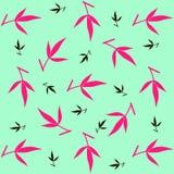 Bloemenpatroon van zwarte en roze gekleurde pioenbladeren op muntachtergrond royalty-vrije illustratie