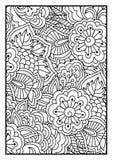 Bloemenpatroon voor het kleuren van boek Stock Afbeeldingen