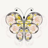Bloemenpatroon in vorm van een vlinder royalty-vrije illustratie