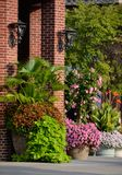 Bloemenplanters met palm, siernetel, bataatwijnstok, cannalelie, mandevilla, en petunia stock afbeelding