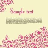 Bloemenprentbriefkaar met decoratieve elementen. Stock Afbeelding