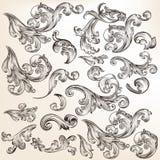 Bloemenreeks decoratieve wervelingselementen in uitstekende stijl Royalty-vrije Stock Afbeeldingen
