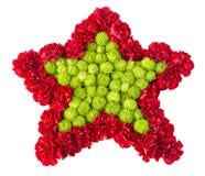 Bloemenregeling in de vorm van sterren van rozen en chrysanthem Stock Fotografie