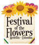 Bloemenregeling en Rol voor Columbiaans Festival van de Bloemen, Vectorillustratie vector illustratie
