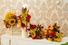 Bloemenregelings de herfst als thema gehad huwelijk Royalty-vrije Stock Fotografie