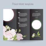 Bloemenrozenmalplaatje, trifold, model voor Stock Foto