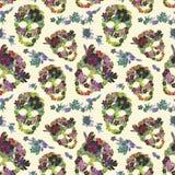 Bloemenschedels met bloemen Naadloos patroon watercolor Royalty-vrije Stock Afbeeldingen