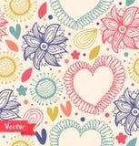 Bloemenschoonheids naadloos patroon op de lichte achtergrond Leuke achtergrond met harten en bloemen Stoffen decoratieve uitsteke Royalty-vrije Stock Afbeelding