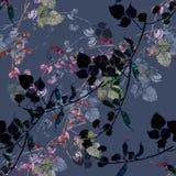 Bloemensnijboon van Waterverf Bloemen Naadloos Patroon op Donker Gray Background Royalty-vrije Stock Afbeelding
