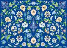 Bloementapijt in blauw Stock Foto's