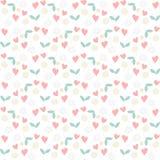 Bloementekenings naadloos patroon met bloemen, harten en wervelingen stock illustratie