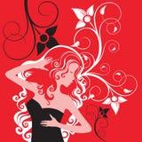 Bloemenvrouw op rode achtergrond Stock Afbeeldingen