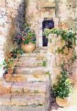 Bloemenwaterverf. Stock Afbeelding