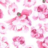 Bloemenwaterverf naadloos patroon Stock Afbeeldingen