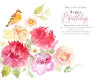Bloemenwaterverfachtergrond met roze bloemen en vogels Stock Afbeeldingen