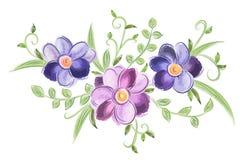 Bloemenwaterverfornament met bladeren Stock Afbeelding