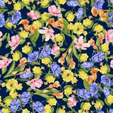 Bloemenwaterverfpatroon met donkerblauw vector illustratie