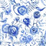 Bloemenwaterverfpatroon, textuur met bloemen en vogels Seaml stock illustratie