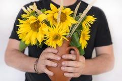 Bloemenzonnebloemen in handen op de witte zomer als achtergrond, een bouque Royalty-vrije Stock Afbeelding
