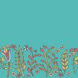 Bloemgrens, naadloze textuur met bloemen Gebruik als groetkaart Royalty-vrije Stock Foto