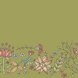 Bloemgrens, naadloze textuur met bloemen Gebruik als groetkaart Stock Afbeelding