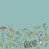Bloemgrens, naadloze textuur met bloemen Gebruik als groetkaart Royalty-vrije Stock Fotografie