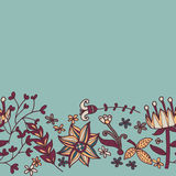Bloemgrens, naadloze textuur met bloemen Gebruik als groetkaart Royalty-vrije Stock Foto's