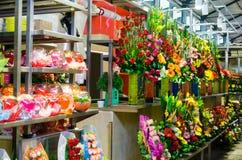Bloemist in Centrale Markt in Oaxaca stock fotografie