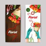 Bloemist Color Banner Set Stock Foto's
