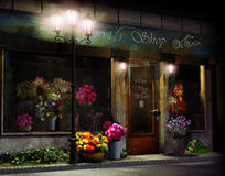 Bloemistwinkel bij nacht Royalty-vrije Stock Afbeeldingen